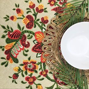 Tan Red Green & Yellow Floral Round Tablecloth